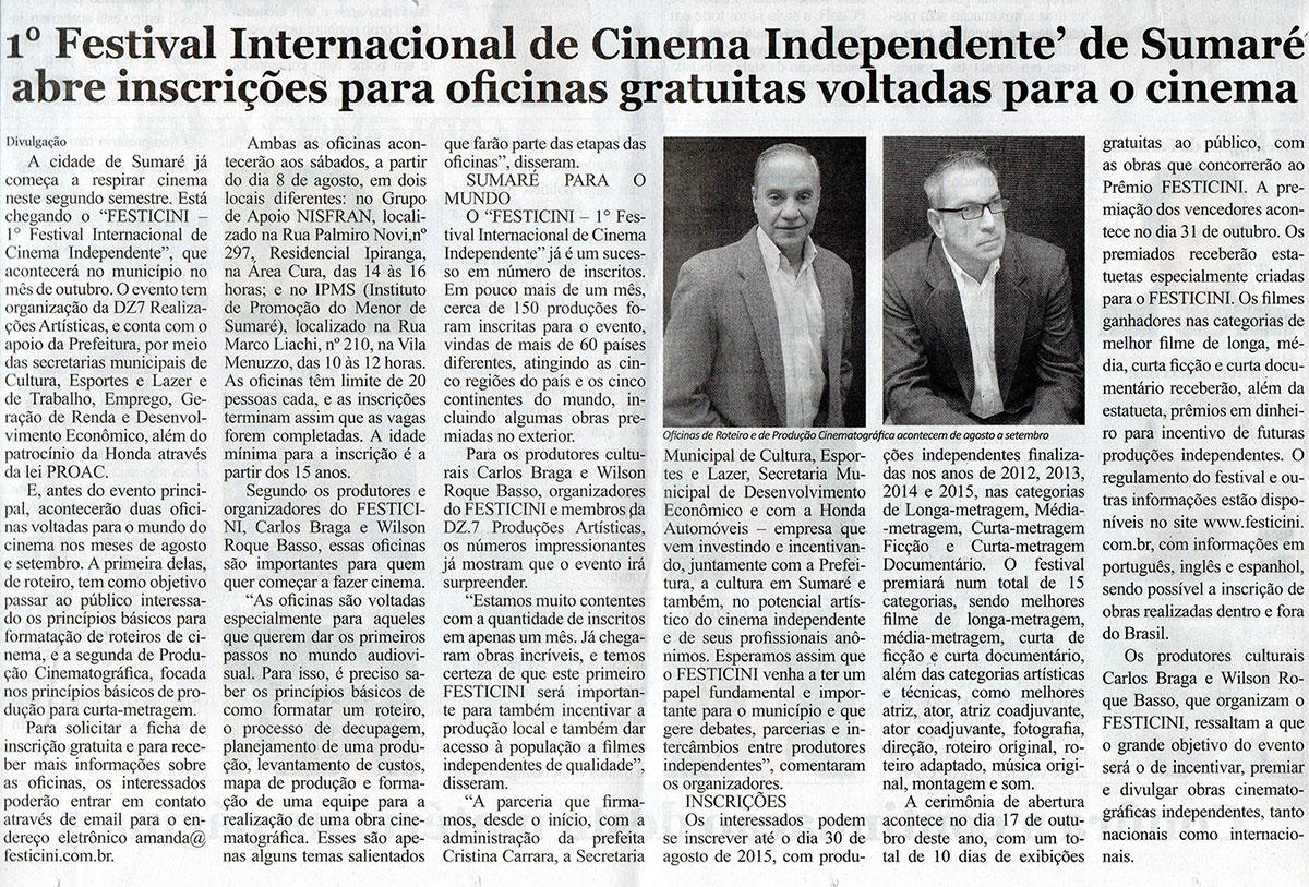 1º Festival Internacional de Cinema Independente de Sumaré