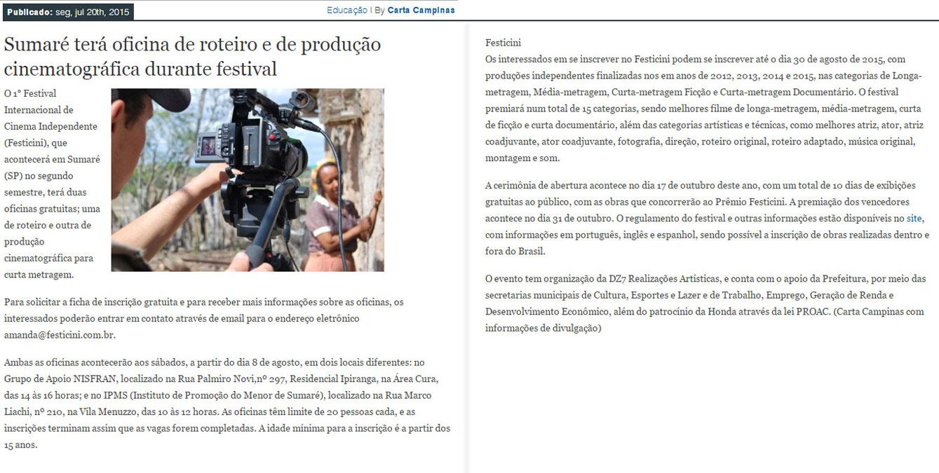 Sumaré terá oficina de roteiro e de produção cinematográfica durante festival.