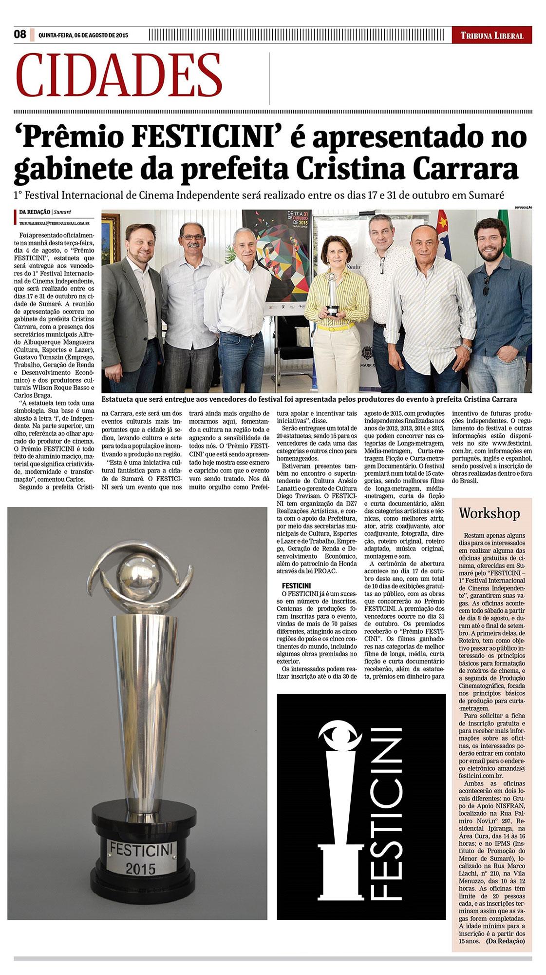 'Prêmio FESTICINI' é apresentado no gabinete da prefeita Cristina Carrara
