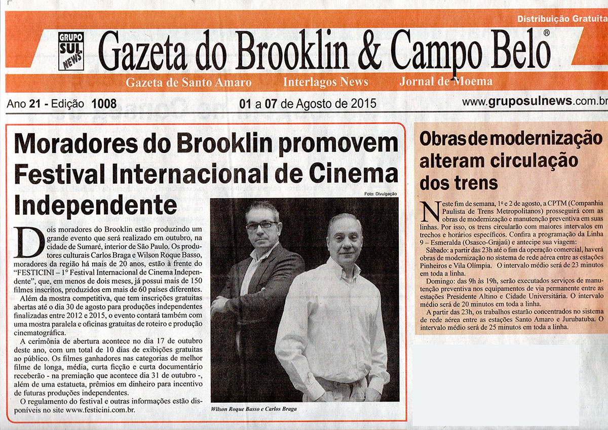 Moradores do Brooklin promovem Festival Internacional de Cinema Independente