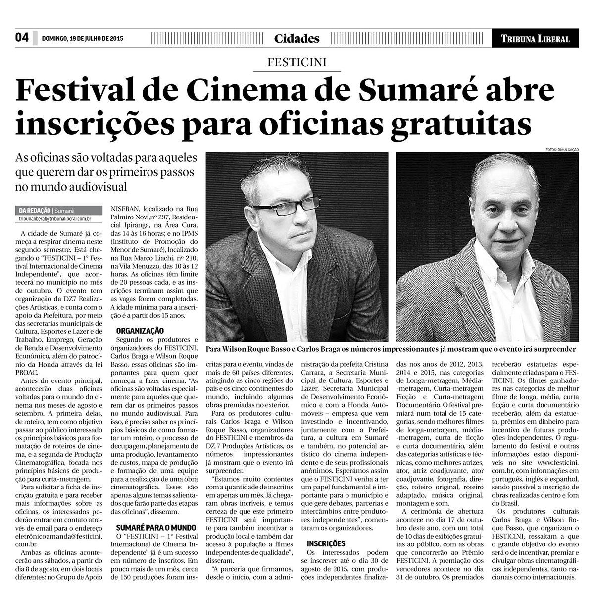Festival de Cinema de Sumaré abre inscrições para oficinas gratuitas