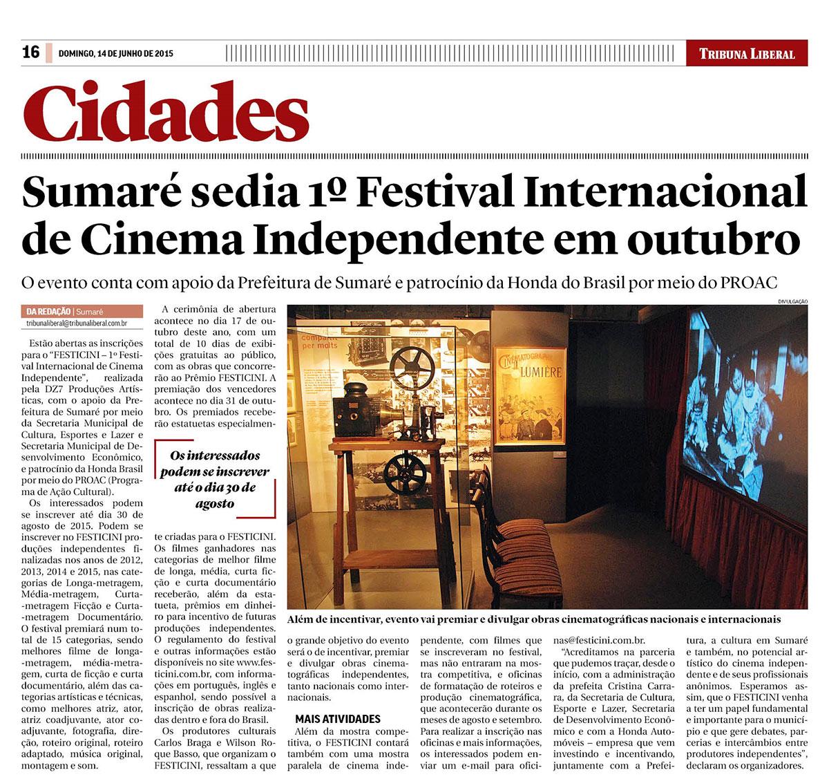 Sumaré sedia 1º Festival Internacional de Cinema Independente em outubro