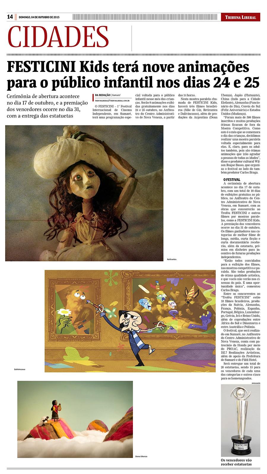 FESTICINI Kids terá nove animações para o público infantil nos dias 24 e 25